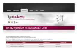 Szkoły zgłoszone do konkursu LN 2014