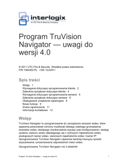 Program TruVision Navigator — uwagi do wersji 4.0