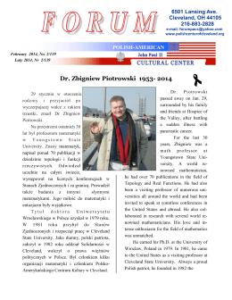Dr. Zbigniew Piotrowski 1953- 2014 - Polish