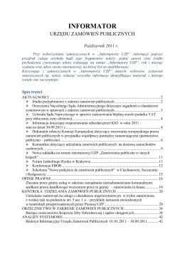 Informator UZP nr 10/2011 - Urząd Zamówień Publicznych