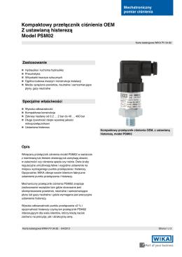 Kompaktowy przełącznik ciśnienia OEM Z ustawianą histerezą