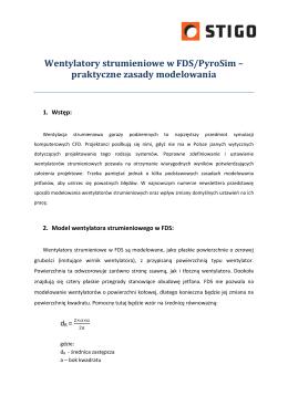 Wentylatory strumieniowe w FDS/PyroSim – praktyczne zasady