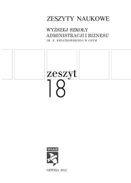 ZESZYTY NAUKOWE - Wyższa Szkoła Administracji i Biznesu w Gdyni