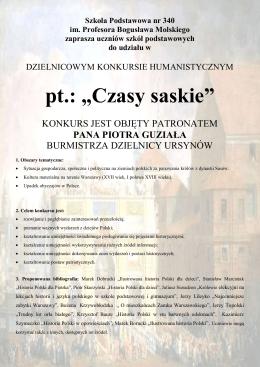 Czasy saskie - Szkoła Podstawowa nr 340 im. Profesora Bogusława