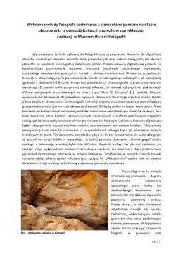 str. 1 Wybrane metody fotografii technicznej z elementami pomiaru