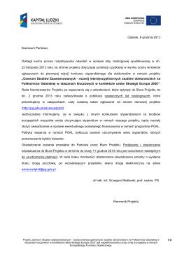1/6 Gdańsk, 6 grudnia 2013 Szanowni Państwo, Dobiegł końca