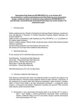 sprawozdanie Rady Nadzorczej