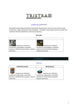1 Tristram.net.pl 2014-06-01 Rzemieślnicy potrzebują przeróżnych