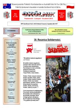 30. Rocznica Solidarności.