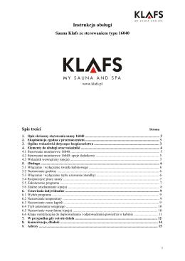 Instrukcja obsługi Klafs Sauna z sterownikiem typu 16040