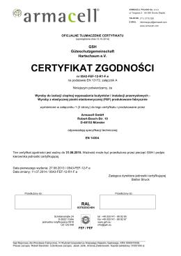 Tłumaczenie Certyfikatu Zgodnośći FEF class