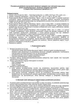 Procedura przydzielania nauczycielom doraźnych zastępstw oraz