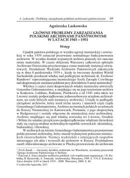 Główne problemy zarządzania polskimi archiwami państwowymi w