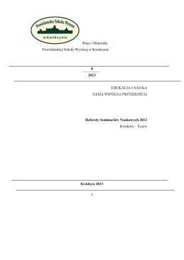 Prace i Materiały Powiślańskiej Szkoły Wyższej w Kwidzynie 8 2013