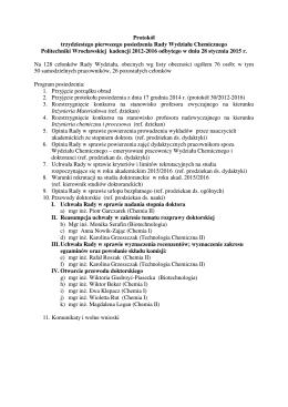Protokół trzydziestego pierwszego posiedzenia Rady Wydziału