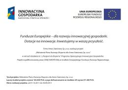 Fundusze Europejskie – dla rozwoju innowacyjnej