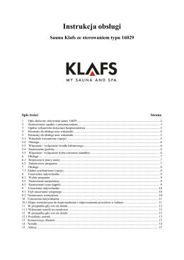 Instrukcja obsługi Klafs SaunaPUR z sterowniiem typu 16029