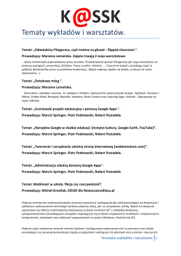 Tematy wykładów i warsztatów.