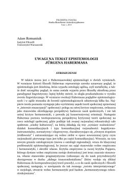 Uwagi na temat epistemologii Jürgena Habermasa