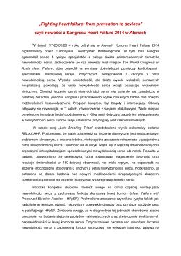 Nowości z Kongresu Heart Failure 2014 w Atenach