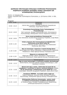 Program spotkania. - Wielkopolska Agencja Rozwoju
