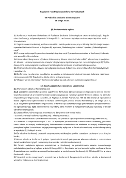 Regulamin rejestracji uczestników indywidualnych VII Podlaskie