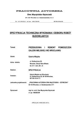 specyfikacja techniczna wykonania i odbioru robót