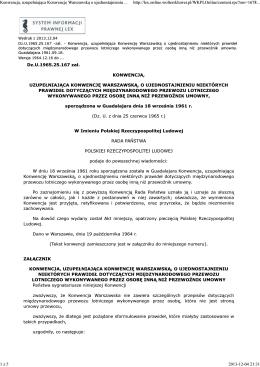 Konwencja, uzupełniająca Konwencję Warszawską o