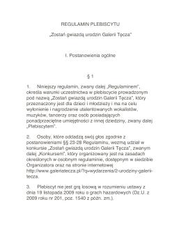 """REGULAMIN PLEBISCYTU """"Zostań gwiazdą"""