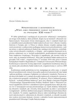 """Sprawozdanie z konferencji """"Wieś jako przedmiot badań naukowych"""