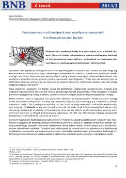 Funkcjonowanie edukacyjnych sieci współpracy nauczycieli w