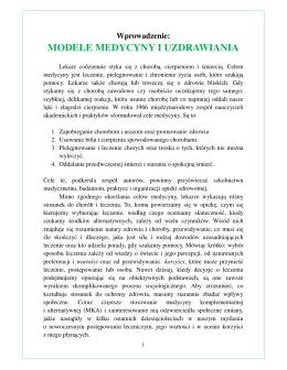 MODELE MEDYCYNY I UZDRAWIANIA