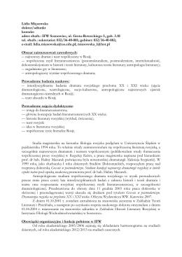 dr Lidia Mięsowska - Instytut Filologii Wschodniosłowiańskiej UŚ