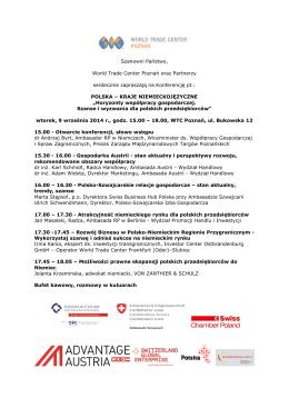 Agenda - Polsko-Szwajcarska Izba Gospodarcza