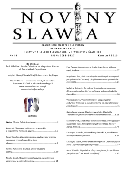 NR III ISSN: 2083-6627 2013 - NOVINY SLAWIA