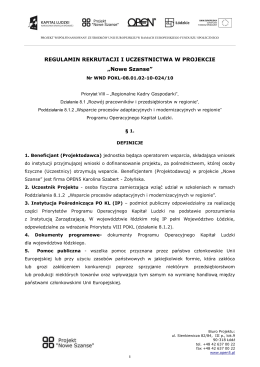 regulamin rekrutacji i uczestnictwa w projekcie