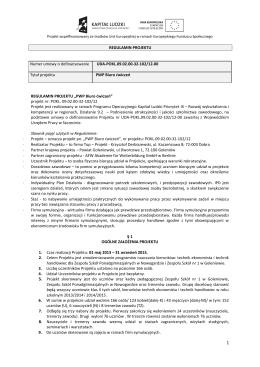 "Regulamin projektu ""PWP Biuro ćwiczeń"""