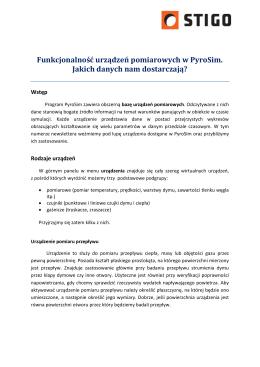 Funkcjonalność urządzeń pomiarowych w PyroSim. Jakich danych