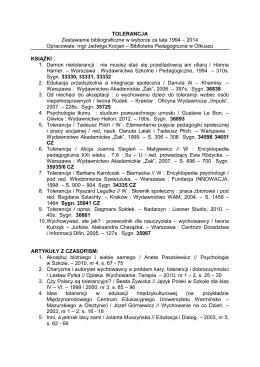 tolerancja (1994 – 2014) pdf - Biblioteka Pedagogiczna w Olkuszu