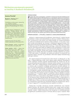 Mechanizm powstawania oporności na insulinę w tkankach