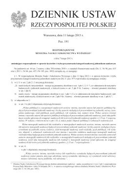 Rozporządzenie MNiSW z dnia 7 lutego 2013 r. zmieniające