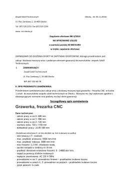 Grawerka, frezarka CNC - Zespół Szkół Technicznych w Olecku