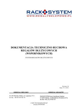 dokumentacja techniczno ruchowa regałów