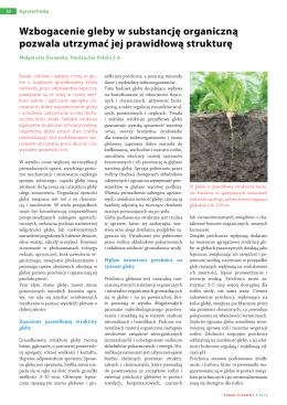 Wzbogacenie gleby w substancję organiczną pozwala utrzymać jej