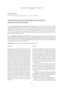 Antropogeniczne podziemia jakomiejsca zimowania nietoperzy