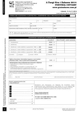 Formularz zgłoszeniowy (pdf) - Targi Gra i Zabawa