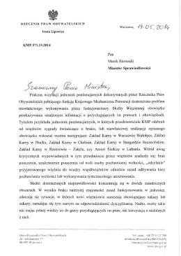 KMP.571.15.2014 Pan Marek Biernacki Minister Sprawiedliwości