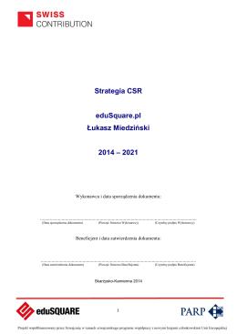 Strategia CSR eduSquare.pl Łukasz Miedziński 2014 – 2021