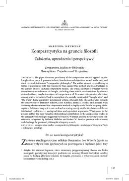 Komparatystyka na gruncie filozofii