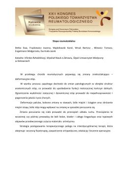 Stopa reumatoidalna Detko Ewa, Frąckiewicz Joanna